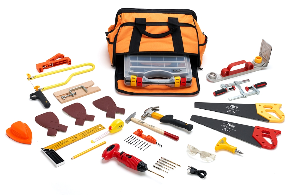 A complete toolset for woodworking with real tools for kids from 5 years old, easy to use and safe to work with! Complies with strict European safety standards, accredited by ASTM International in the USA.