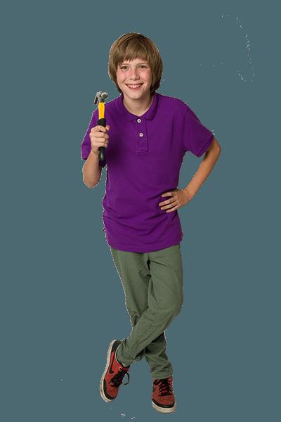 Happy boy showing ToolKid claw hammer