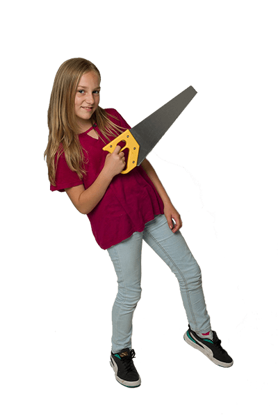 Happy girl showing ToolKid handsaw